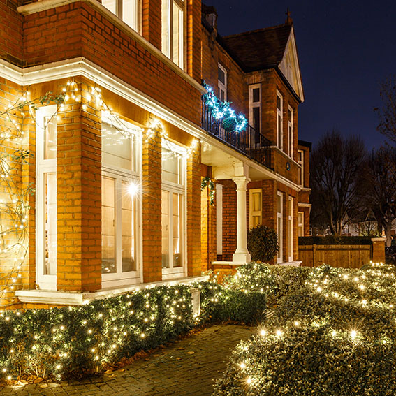 House decorated for Christmas in London, UK
