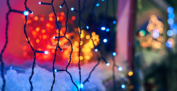 LED electric Christmas lights making beautiful magical colors an