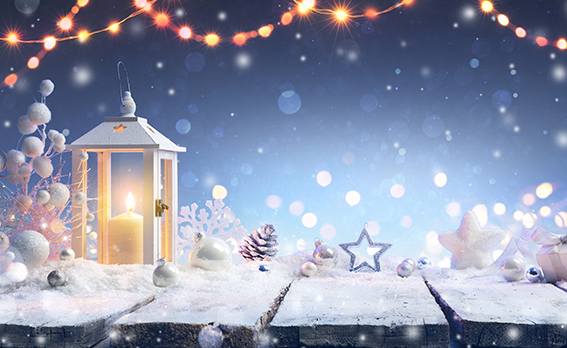 Christmas - Lantern And Gift On Snowy Table