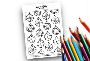 Baubles Feature Image Colouring page Illumination Street colouring