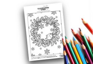 Wreath Feature Image Colouring page Illumination Street colouring