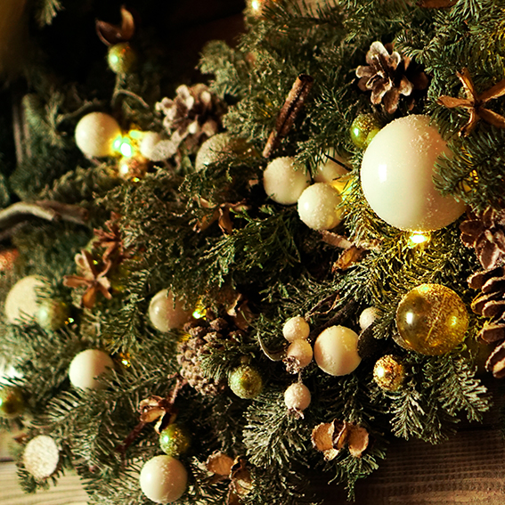 Christmas decorations, Christmas tree, gifts, new year in gold color