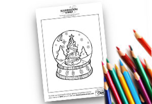 Snowglobe Feature Image Colouring page Illumination Street colouring