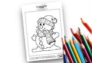 Snowman Feature Image Colouring page Illumination Street colouring