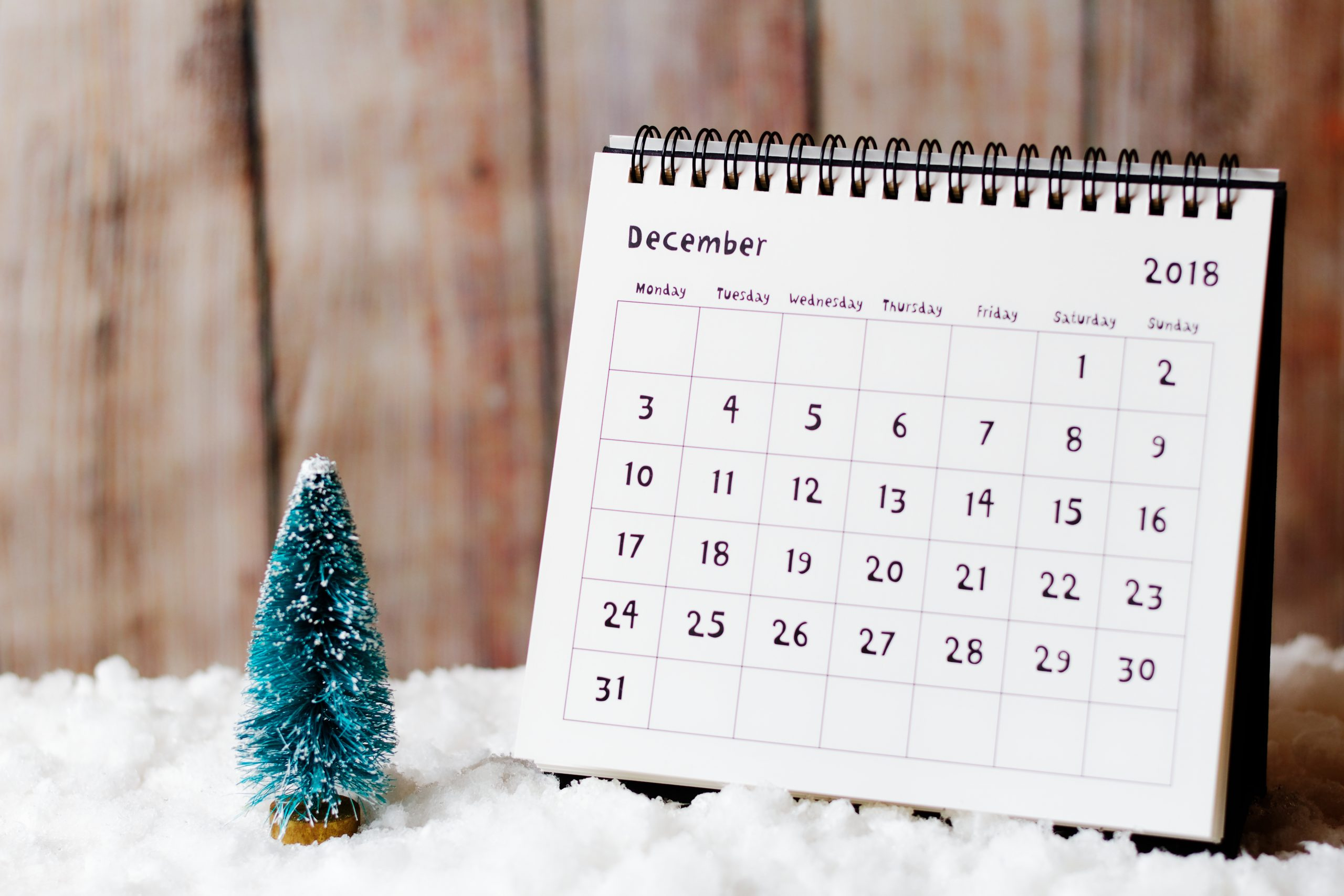 December 2018 calendar on the snow and little Christmas tree decoration. Wooden wall in the background