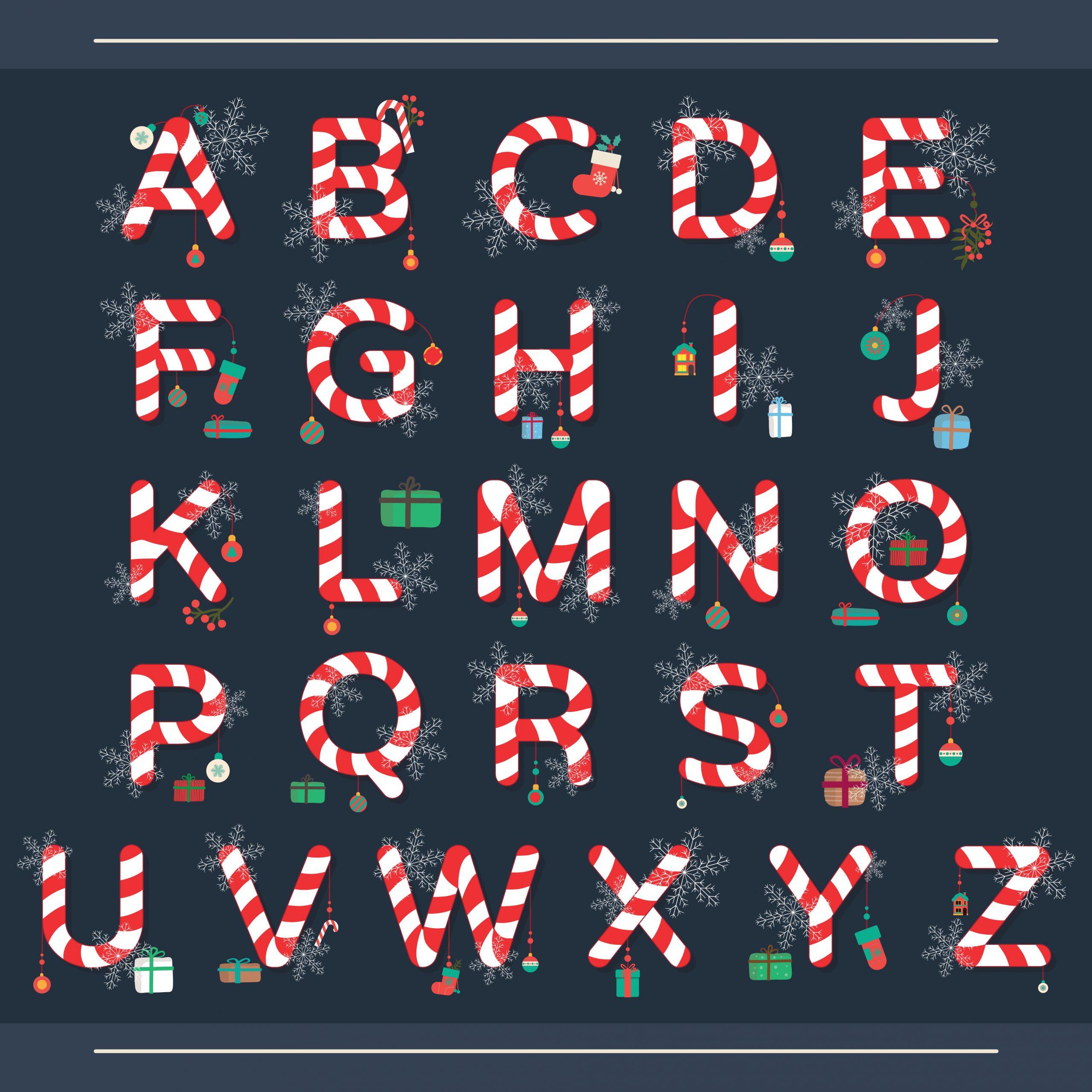 Christmas alphabet, christmas candy.